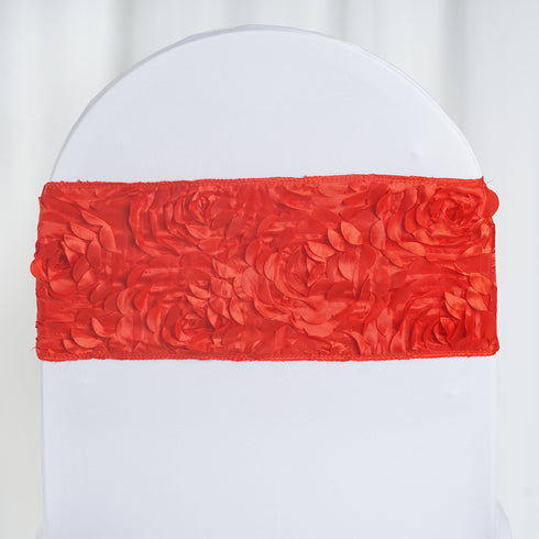 "5 pack | 6""x14"" Red Satin Rosette Spandex Stretch Chair Sash"