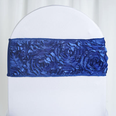 "5 pack | 6""x14"" Royal Blue Rosette Spandex Stretch Chair Sash"