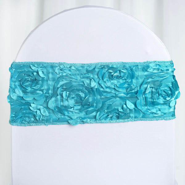 "5 pack | 6""x14"" Turquoise Rosette Spandex Stretch Chair Sash"