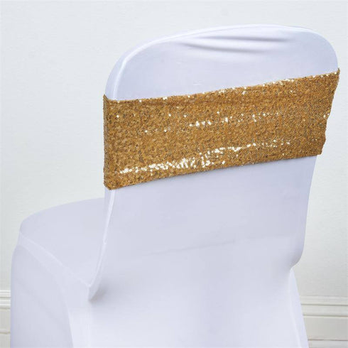 5pc x SEXY SEQUINED Spandex Chair Sash - Gold