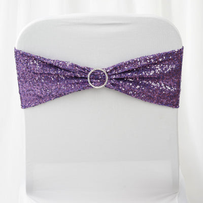 5pc x SEXY SEQUINED Spandex Chair Sash - Purple