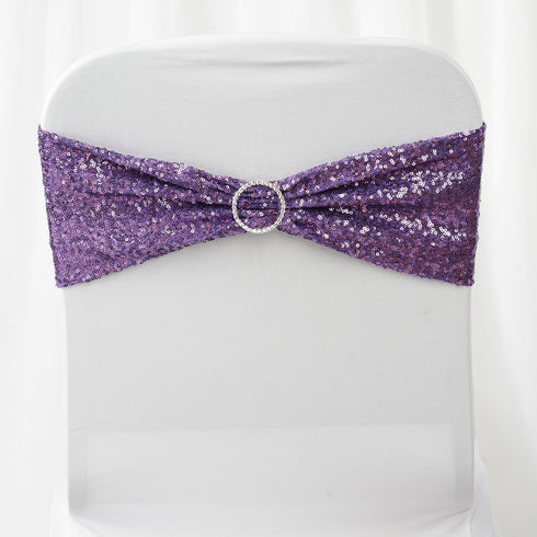 5 pack | 6x15 Purple Sequin Spandex Chair Sash