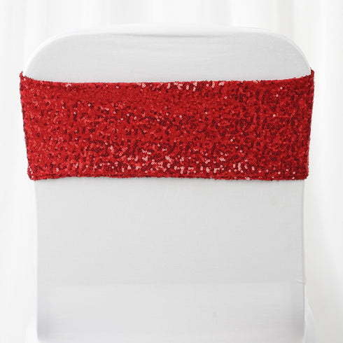 "5 pack | 6""x15"" Red Sequin Spandex Chair Sash"