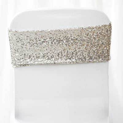 "5 pack | 6""x15"" Silver Sequin Spandex Chair Sash"