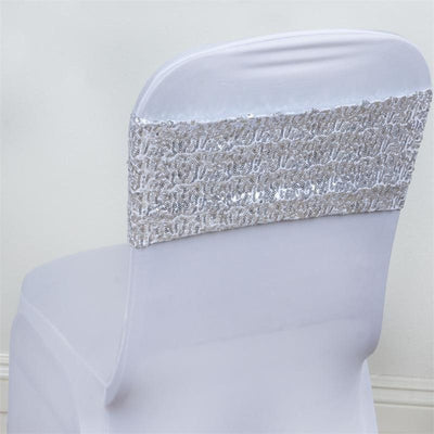 5pc x SEXY SEQUINED Spandex Chair Sash - Silver
