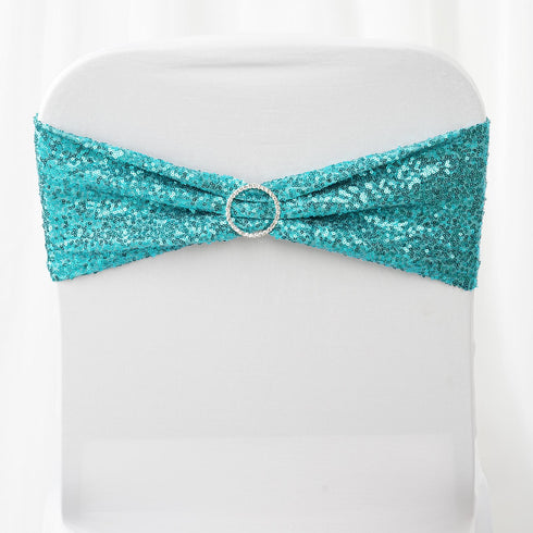 5 pack | 6x15 Turquoise Sequin Spandex Chair Sash