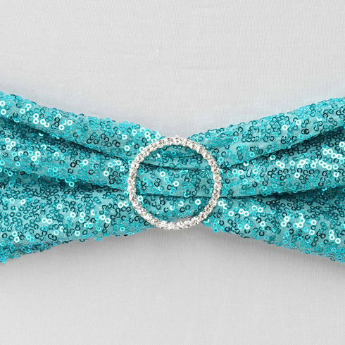 "5 pack | 6""x15"" Turquoise Sequin Spandex Chair Sash"