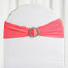"5 pack | 5""x14"" Coral Spandex Stretch Chair Sash with Silver Diamond Ring Slide Buckle"