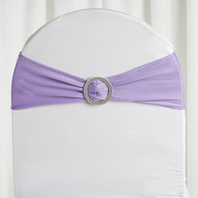 "5 pack | 5""x14"" Violet Amethyst Spandex Stretch Chair Sash with Silver Diamond Ring Slide Buckle"