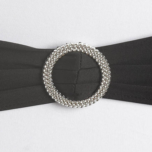 "5 pack | 5""x14"" Black Spandex Stretch Chair Sash with Silver Diamond Ring Slide Buckle"