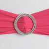 "5 pack | 5""x14"" Fushia Spandex Stretch Chair Sash with Silver Diamond Ring Slide Buckle#whtbkgd"