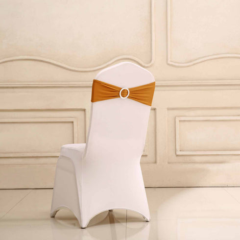 "5 pack | 5""x14"" Gold Spandex Stretch Chair Sash with Silver Diamond Ring Slide Buckle"