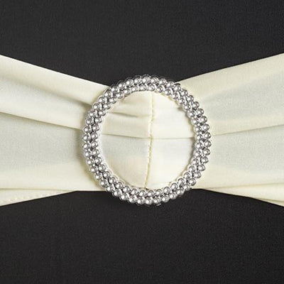 "5 pack | 5""x14"" Ivory Spandex Stretch Chair Sash with Silver Diamond Ring Slide Buckle"