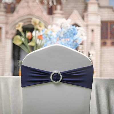 "5 pack | 5""x14"" Navy Blue Spandex Stretch Chair Sash with Silver Diamond Ring Slide Buckle"