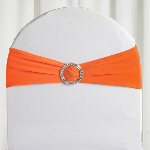 "5 pack | 5""x14"" Orange Spandex Stretch Chair Sash with Silver Diamond Ring Slide Buckle"