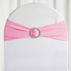"5 pack | 5""x14"" Pink Spandex Stretch Chair Sash with Silver Diamond Ring Slide Buckle"