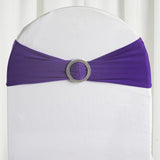 "5 pack | 5""x14"" Purple Spandex Stretch Chair Sash with Silver Diamond Ring Slide Buckle"