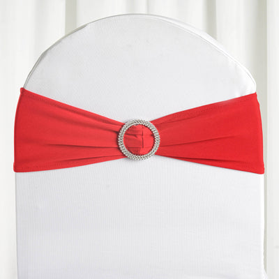 "5 pack | 5""x14"" Red Spandex Stretch Chair Sash with Silver Diamond Ring Slide Buckle"