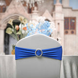 "5 pack | 5""x14"" Royal Blue Spandex Stretch Chair Sash with Silver Diamond Ring Slide Buckle"