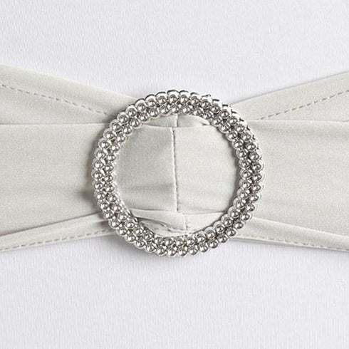 "5 pack | 5""x14"" Silver Spandex Stretch Chair Sash with Silver Diamond Ring Slide Buckle"