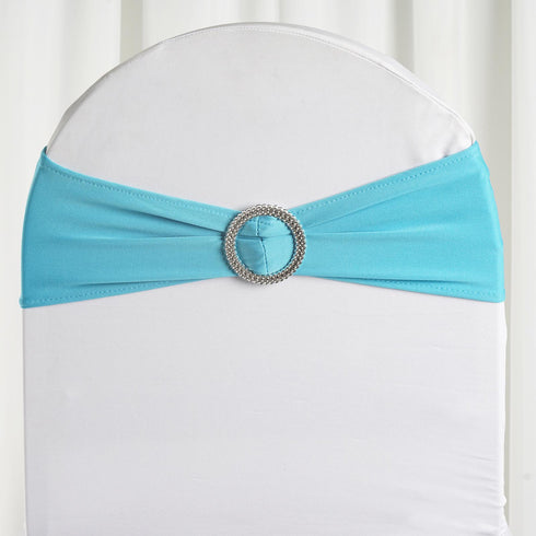 "5 pack | 5""x14"" Turquoise Spandex Stretch Chair Sash with Silver Diamond Ring Slide Buckle"