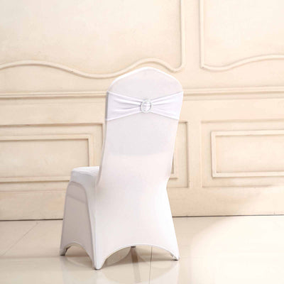 "5 pack | 5""x14"" White Spandex Stretch Chair Sash with Silver Diamond Ring Slide Buckle"