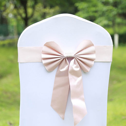 5 Pack | Blush | Reversible Chair Sashes with Buckle | Double Sided Pre-tied Bow Tie Chair Bands | Satin & Faux Leather