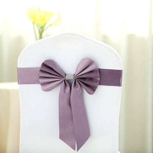 5 Pack | Voilet Amethyst | Reversible Chair Sashes with Buckle | Double Sided Pre-tied Bow Tie Chair Bands | Satin & Faux Leather