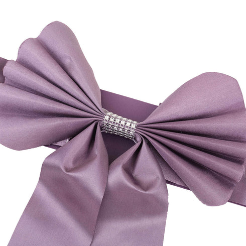 5 Pack | Amethyst | Reversible Chair Sashes with Buckle | Double Sided Bow Tie Chair Bands | Satin & Faux Leather
