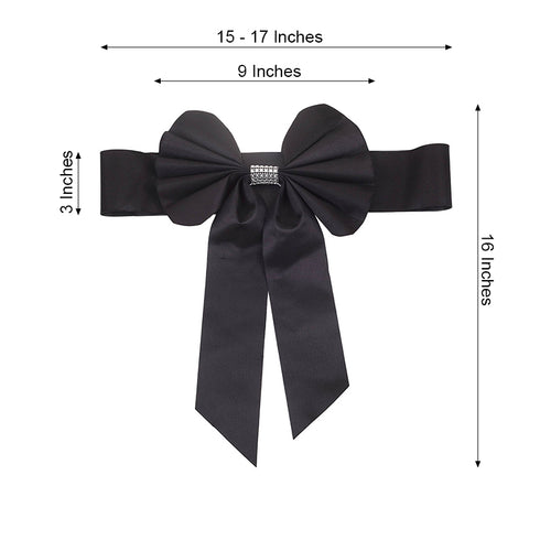 5 Pack | Black | Reversible Chair Sashes with Buckle | Double Sided Pre-tied Bow Tie Chair Bands | Satin & Faux Leather