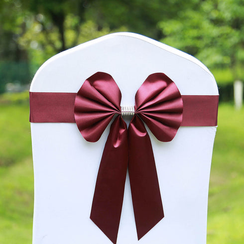 5 Pack | Burgundy | Reversible Chair Sashes with Buckle | Double Sided Pre-tied Bow Tie Chair Bands | Satin & Faux Leather