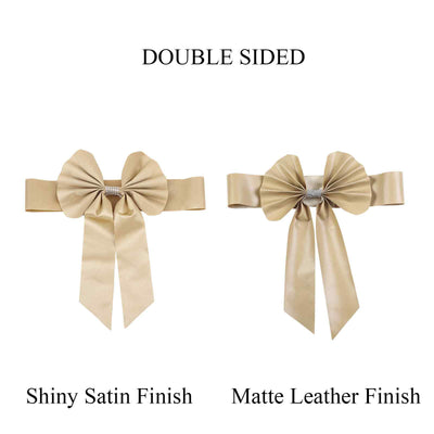 5 Pack | Champagne | Reversible Chair Sashes with Buckle | Double Sided Pre-tied Bow Tie Chair Bands | Satin & Faux Leather