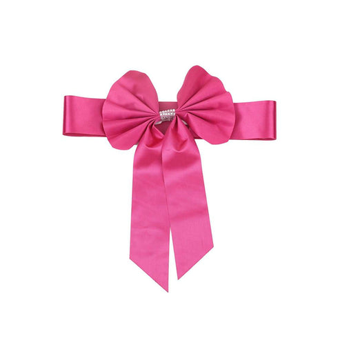 5 Pack | Fushia | Reversible Chair Sashes with Buckle | Double Sided Pre-tied Bow Tie Chair Bands | Satin & Faux Leather