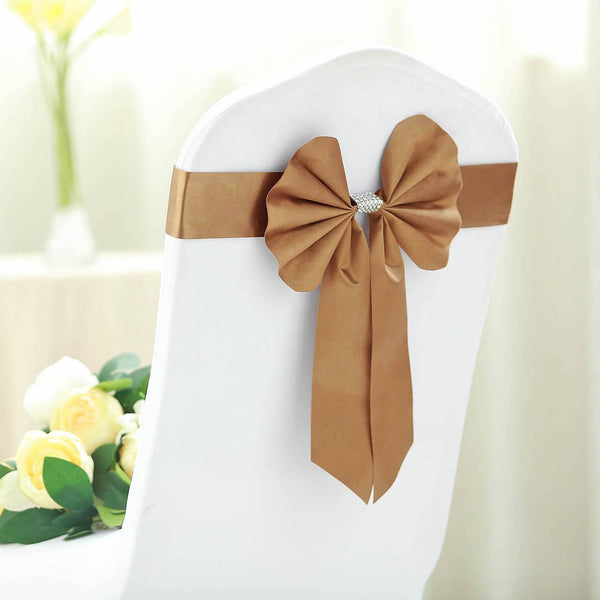 5 Pack | Gold | Reversible Chair Sashes with Buckle | Double Sided Pre-tied Bow Tie Chair Bands | Satin & Faux Leather
