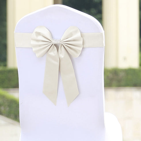 5 Pack | Ivory | Reversible Chair Sashes with Buckle | Double Sided Pre-tied Bow Tie Chair Bands | Satin & Faux Leather