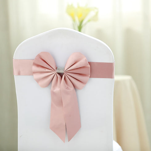 5 Pack | Dusty Rose | Reversible Chair Sashes with Buckle | Double Sided Pre-tied Bow Tie Chair Bands | Satin & Faux Leather