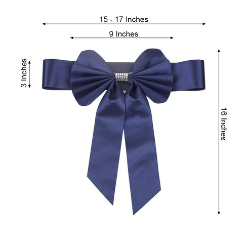 5 Pack | Navy Blue | Reversible Chair Sashes with Buckle | Double Sided Pre-tied Bow Tie Chair Bands | Satin & Faux Leather