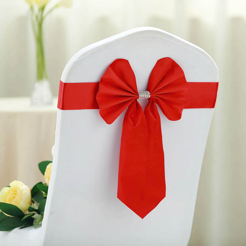 5 Pack | Red | Reversible Chair Sashes with Buckle | Double Sided Pre-tied Bow Tie Chair Bands | Satin & Faux Leather