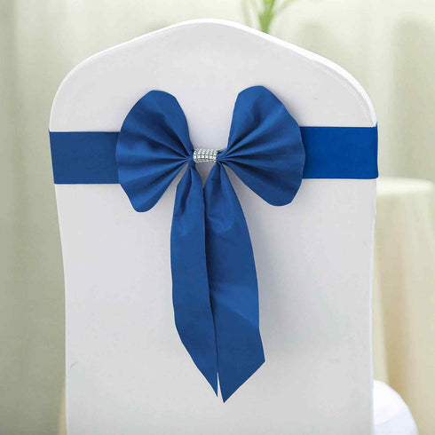 5 Pack | Royal Blue | Reversible Chair Sashes with Buckle | Double Sided Pre-tied Bow Tie Chair Bands | Satin & Faux Leather