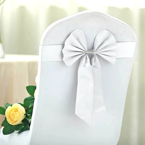 5 Pack | White | Reversible Chair Sashes with Buckle | Double Sided Pre-tied Bow Tie Chair Bands | Satin & Faux Leather