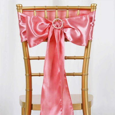 Satin Chair Sash | Rose Quartz | Event Decoration Supplies | 5pcs | 6 x 106""