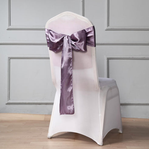 "5 pack - 6""x106"" Amethyst Satin Chair Sashes"