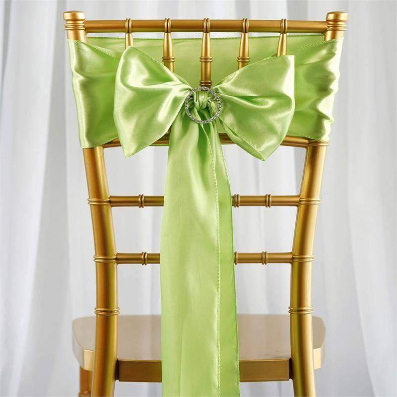 Nice Satin Chair Sash | Apple Green | Event Decoration Supplies | 5pcs | 6 X 106  ...