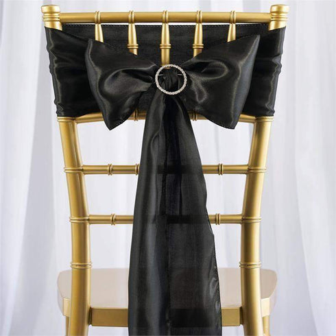 Satin Chair Sash | Black | Event Decoration Supplies | 5pcs | 6 x 106""