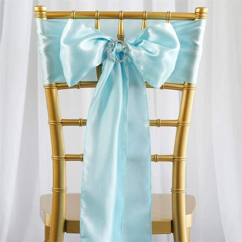 Satin Chair Sash | Light Blue | Event Decoration Supplies | 5pcs | 6 x 106""