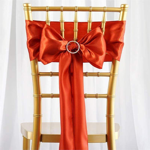 Satin Chair Sash | Burnt Orange | Event Decoration Supplies | 5pcs | 6 x 106""