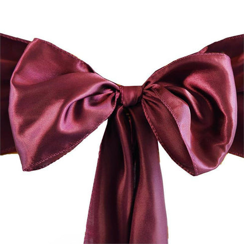 Ivory Sleeveless Satin Flower Girl Dress with Sash - Burgundy