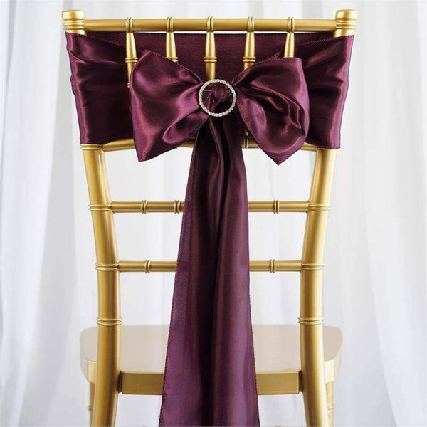 "5 pack - 6""x106"" Eggplant Satin Chair Sashes"