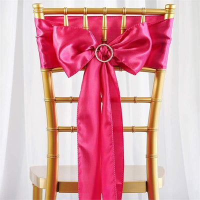Satin Chair Sash | Fushia | Event Decoration Supplies | 5pcs | 6 x 106""