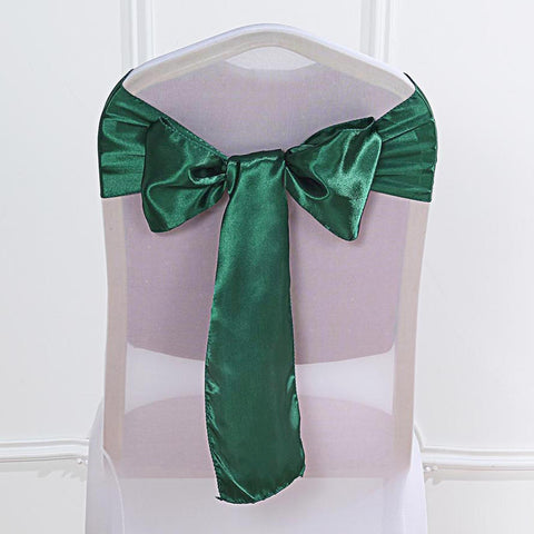 5pc x Satin Hunter Green Chair Sash